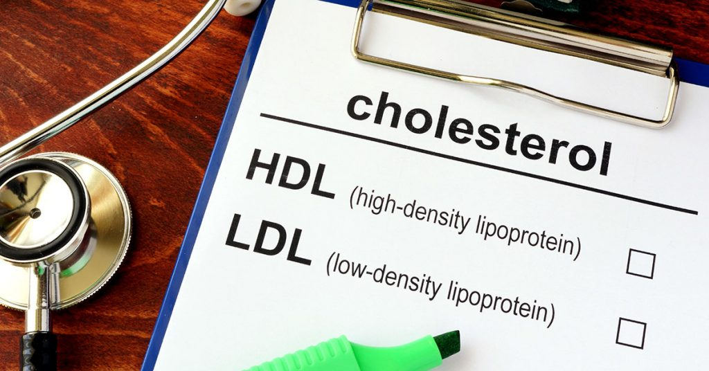 Medical form with words cholesterol HDL LDL; blog: Is Kidney Disease One of the Risks of High Cholesterol?